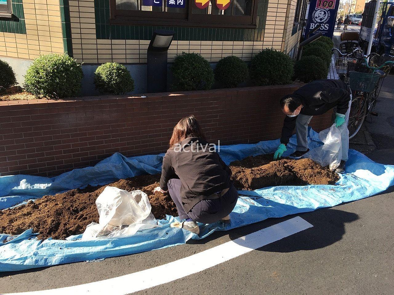 プランターの土にある根っこなどを取り除いてます!