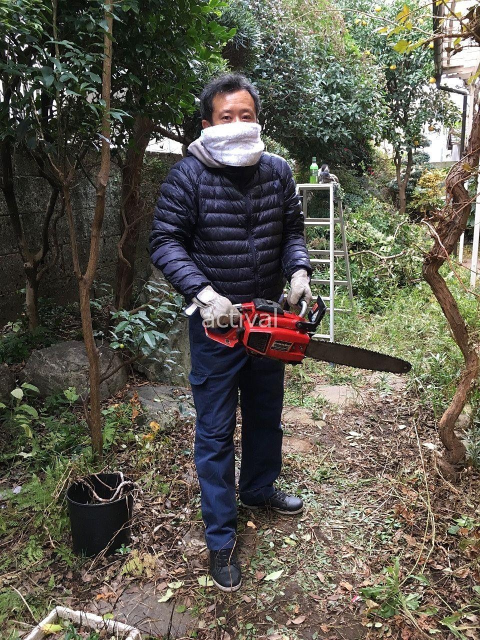 木の伐採作業中の上司の中島部長です!