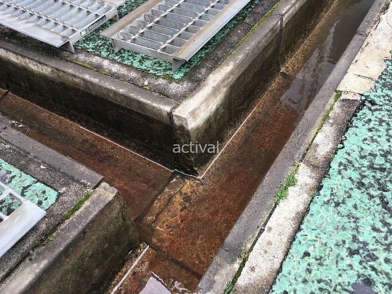 排水溝のゴミを取ってきれいに掃除しました!!