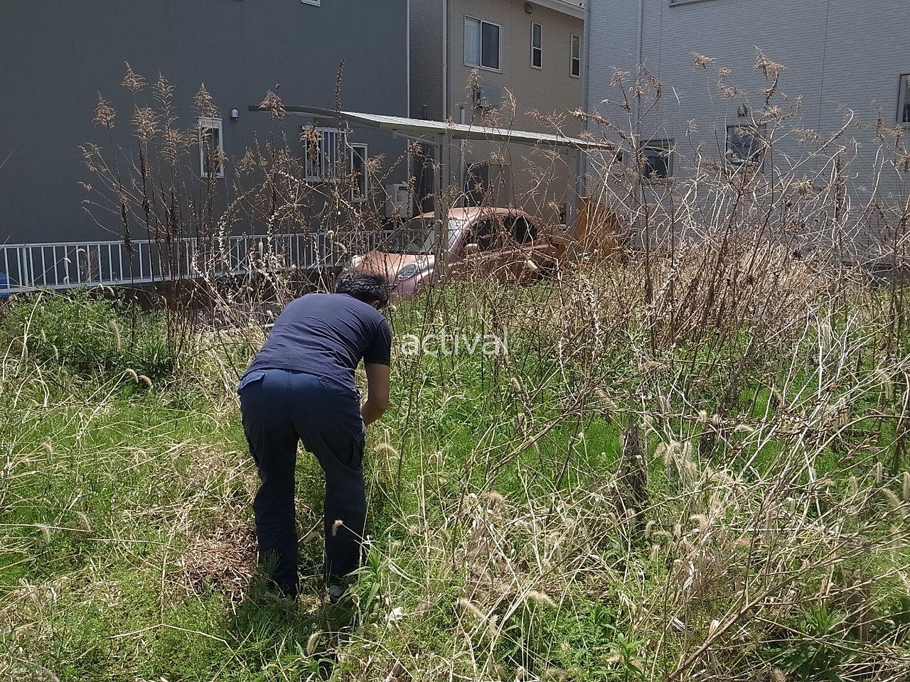 上司N島部長が空き地の草を一部刈っています!