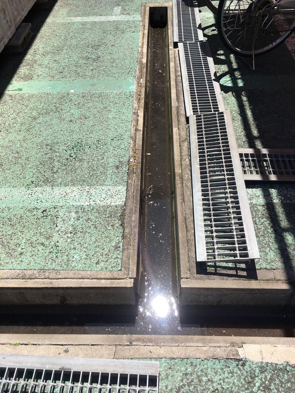 排水溝内にゴミが溜まって水が濁っています!!