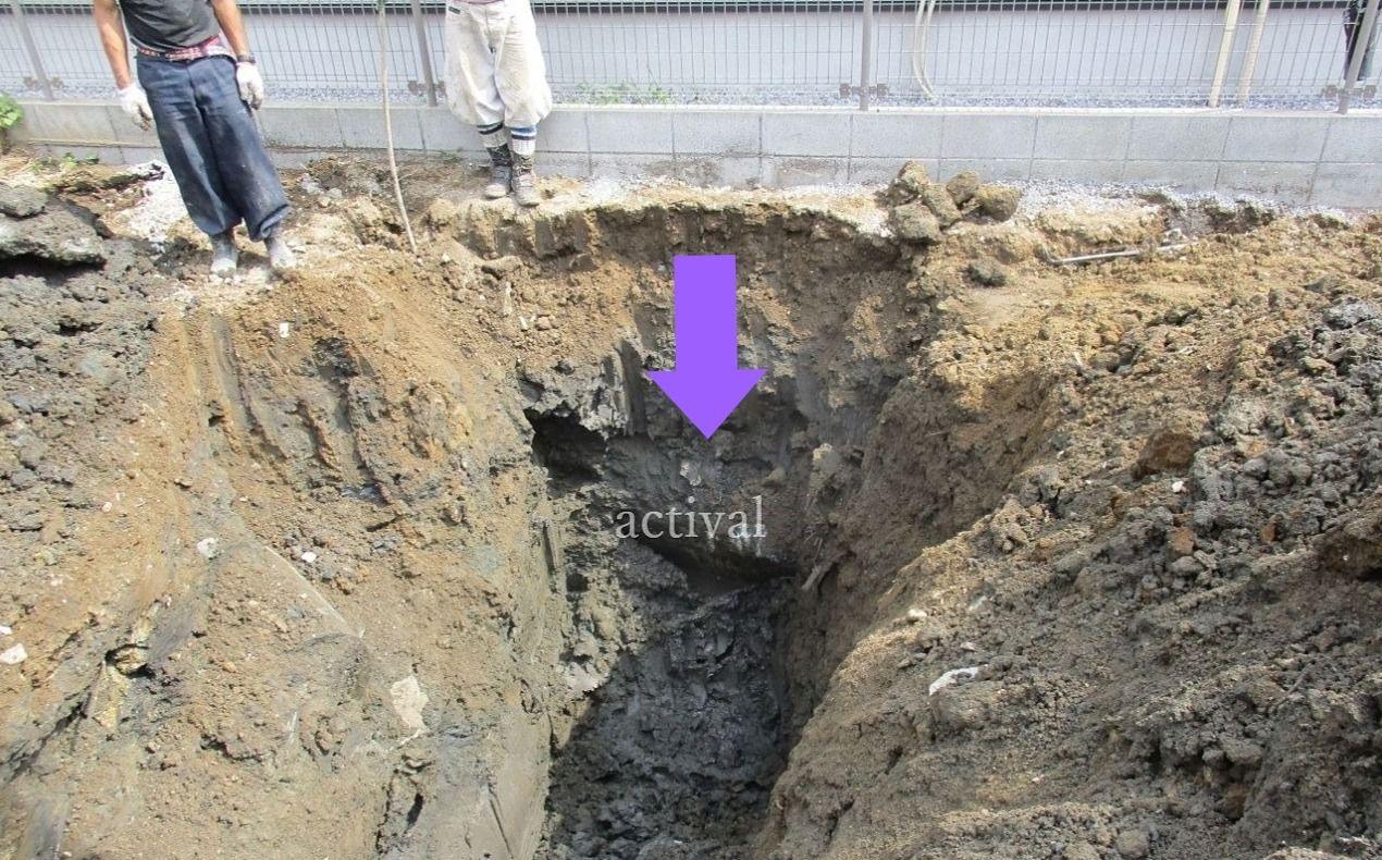 隣の敷地にまたがって埋まっている杭です。
