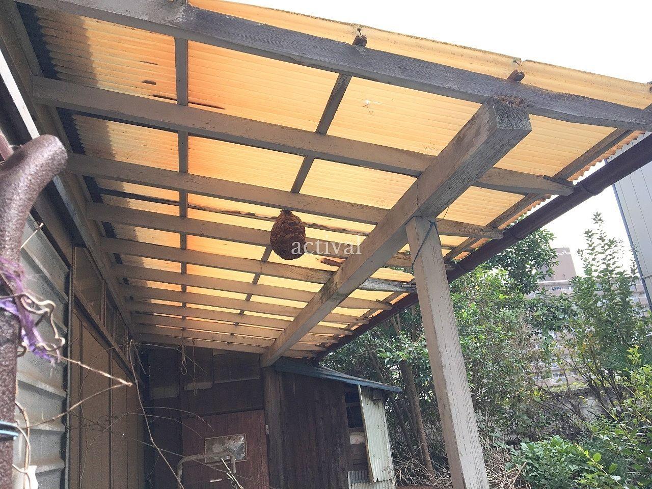 空き家にできたスズメバチの巣です。