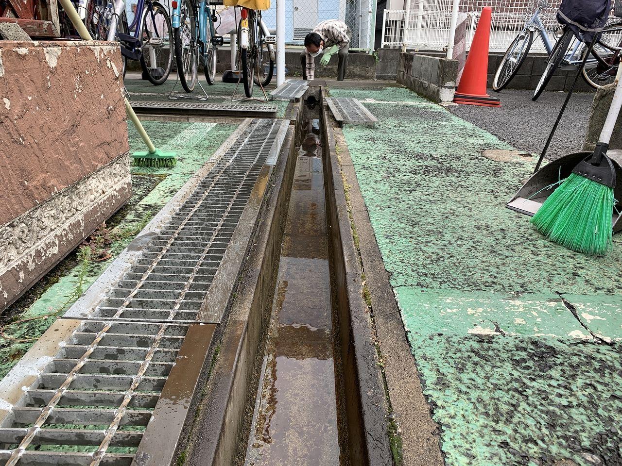ア・ス・ヴェルデⅡにある排水溝を掃除しました。