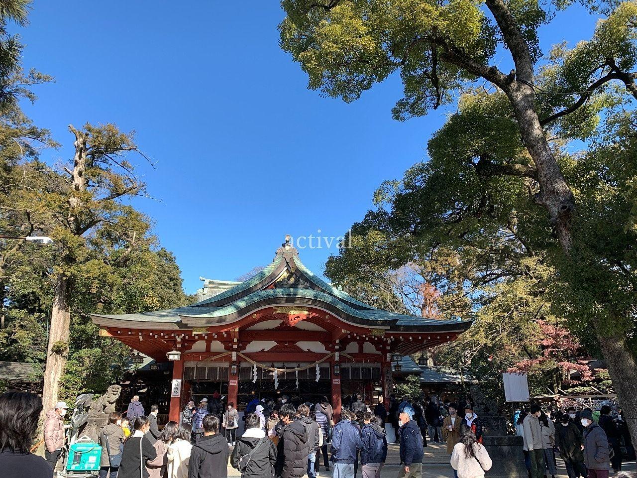 1月4日の久伊豆神社の様子です。